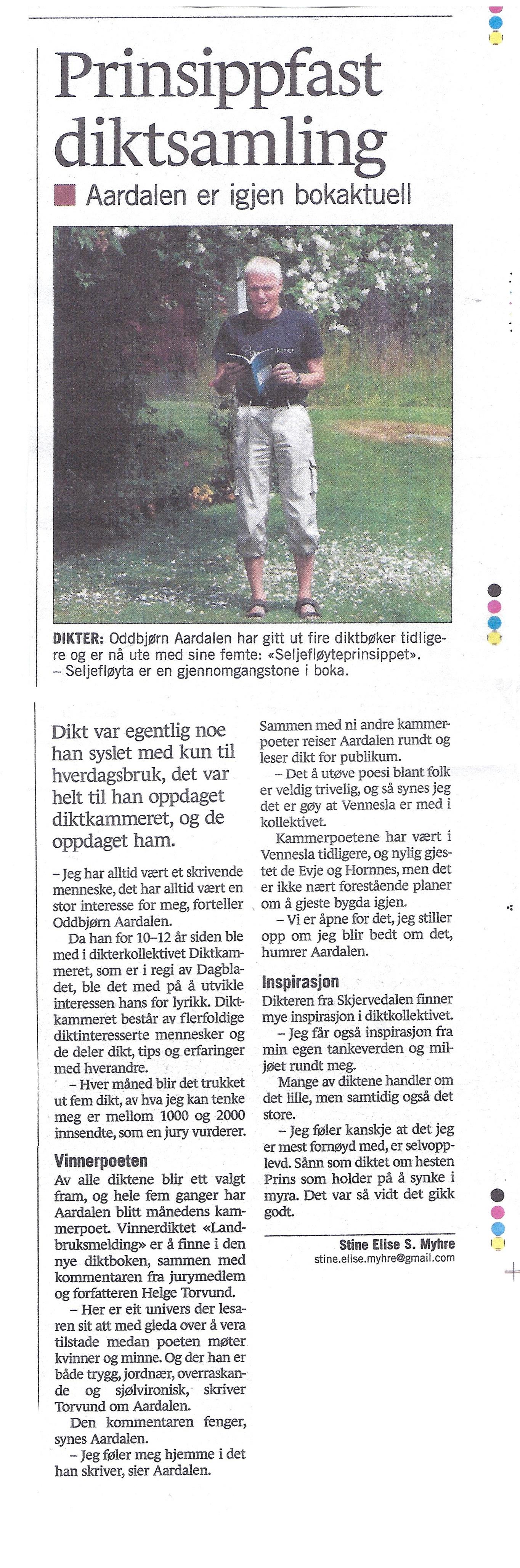Intervju med Oddbjørn Aardalen i Vennesla Tidende